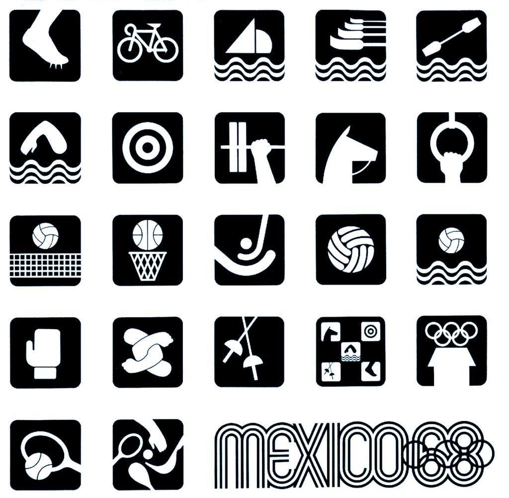 Mexico 68 Simbolos.Deportivos.B-W