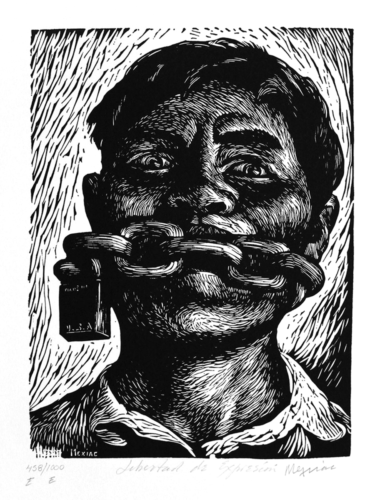 Libertad de expresión, (1954) de Adolfo Mexiac. Linóleo