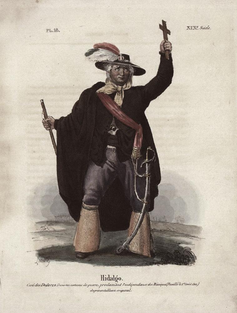 Miguel Hidalgo, Por Claudio Linati (lámina XIV) en Trajes Civiles, Militares y Religiosos de México (1828). Manuel Porrúa S.A., México 1979