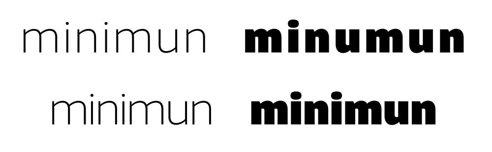Fig. 2. La consistencia depende del balance de los contrapunzones con los espacios laterales de las letras. El blanco interno de la letra condiciona al blanco externo y afecta la percepción de la palabra.