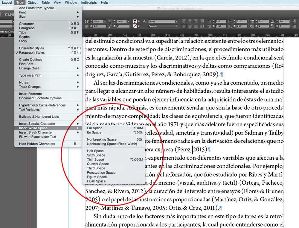 Fig. 6. Menú de InDesign con opciones de espacios para insertar en la composición.
