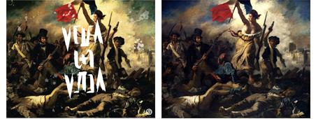 Viva la vida de Coldplay, a partir de la obra La Liberté guidant le peuple de Eugène Delacroix.