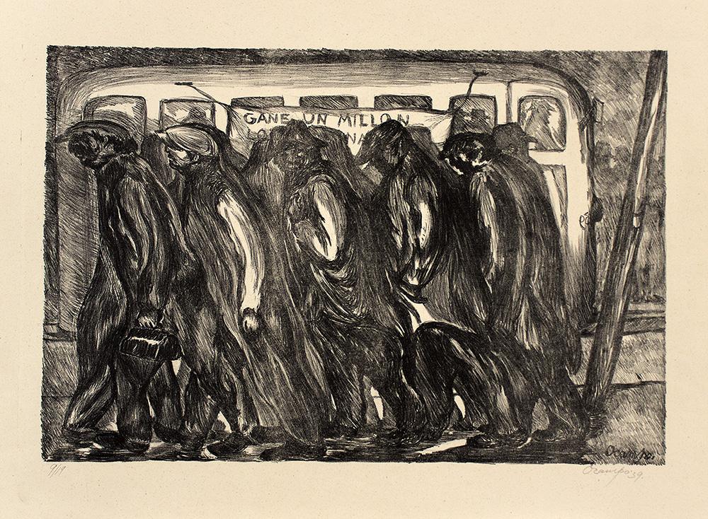 Isidoro Ocampo Obreros (Gane un millón), 1939 Litografía (9/19) 34 x 50.5 cm. (a. i.) 49.5 x 62.5 cm. (s.) Colección Ernesto Arnoux © Isidoro Ocampo.