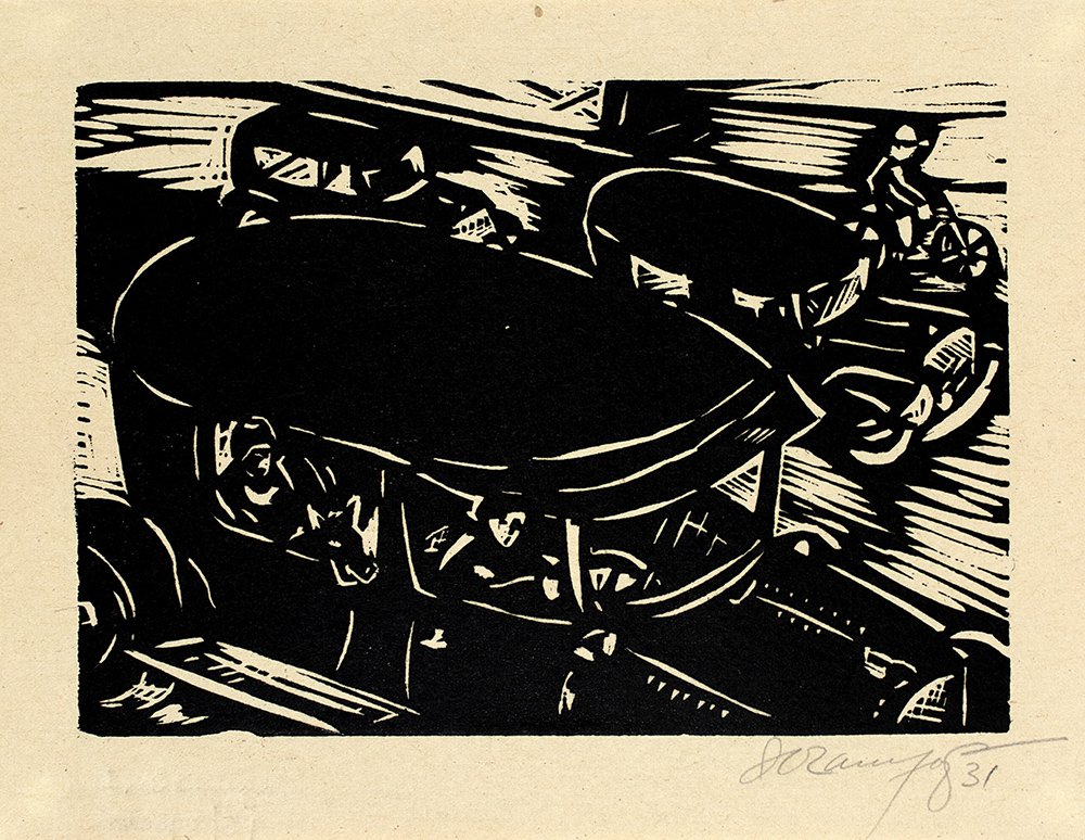 Isidoro Ocampo Tránsito, 1931 Xilografía  10.8 x 15.5 cm. (a. i.) 14 x 18.3 cm. (s.) Colección Ernesto Arnoux © Isidoro Ocampo.