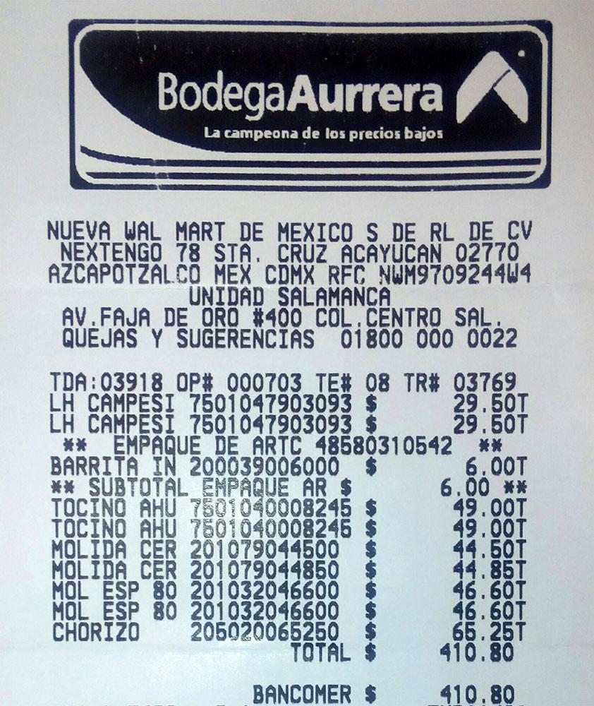 Fig. 1. Recibo de compra de los ingredientes.