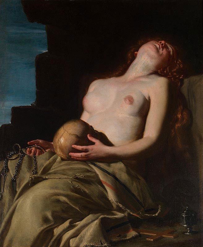 Magdalena desvanecida. Artemisia Gentileschi.1625. Pintura barroca. Galería de Arte Nacional de Arte Antiguo, Italia.