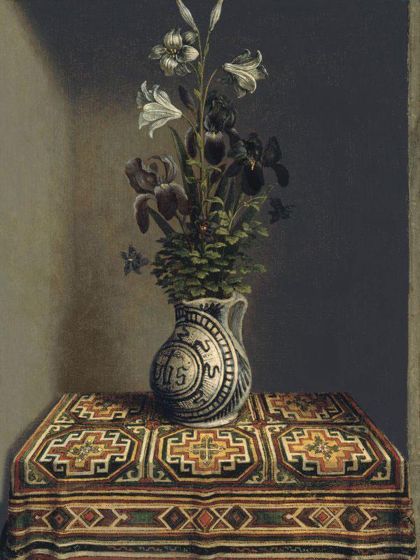 Hans Memling, Florero (reverso). circa 1485 Óleo sobre tabla. 29.2x22.5 cm. Museo Thyssen-Bornemisza, Madrid.