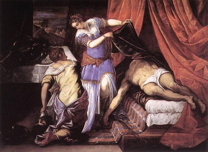 Tintoretto, Judith y Holofernes. Museo del Prado, Madrid. Obra citada en Las lágrimas de Eros de Bataille. Como en la anterior observamos la unión de los contrarios.
