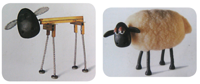 Estructura metálica. Personaje para Shaun the sheep de Aardman, serie animada de televisión. Creada por Richard Starzak. Reino Unido, 1995