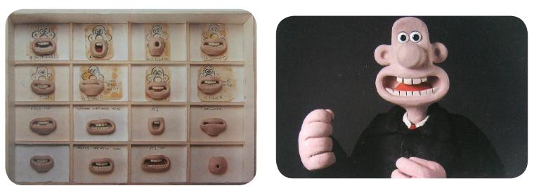 Imagen 1. Piezas por sustitución para lipsync del programa Wallace and Gromit de los Estudios Aardman.
