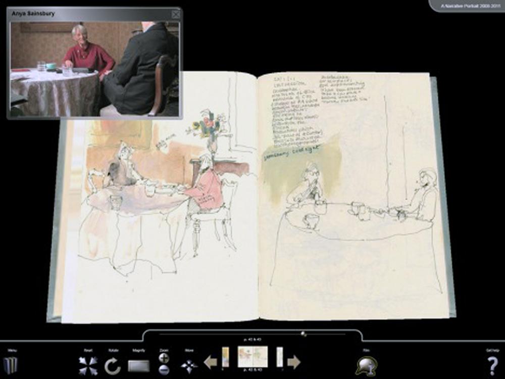 Eileen Hogan, A narrated portrait 2008-2011 (2013). http://eileenhogan.onlineculture.co.uk/ttp/. La inter-medialidad de este Libro-arte digital converge en la narra-ción de una historia —la biografía de un personaje— en muchas formas mediales —dibujos, texto, audio, video, in-teracción…— y presentada en una única plataforma medial (on line de visualización en pantalla).