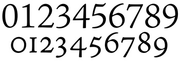Números alineados y de ojo antiguo disponibles en la misma fuente tipográfica.