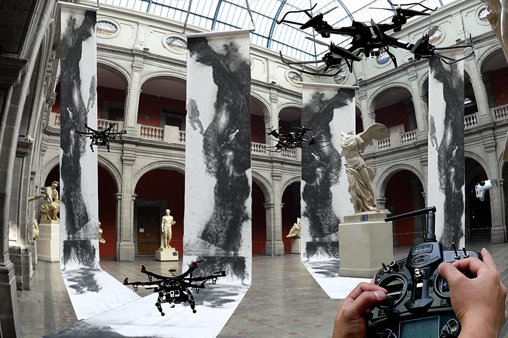 Fig. 1. Taller de Dibujo Monumental con Drones, maquetación, Academia de San Carlos, 2017.