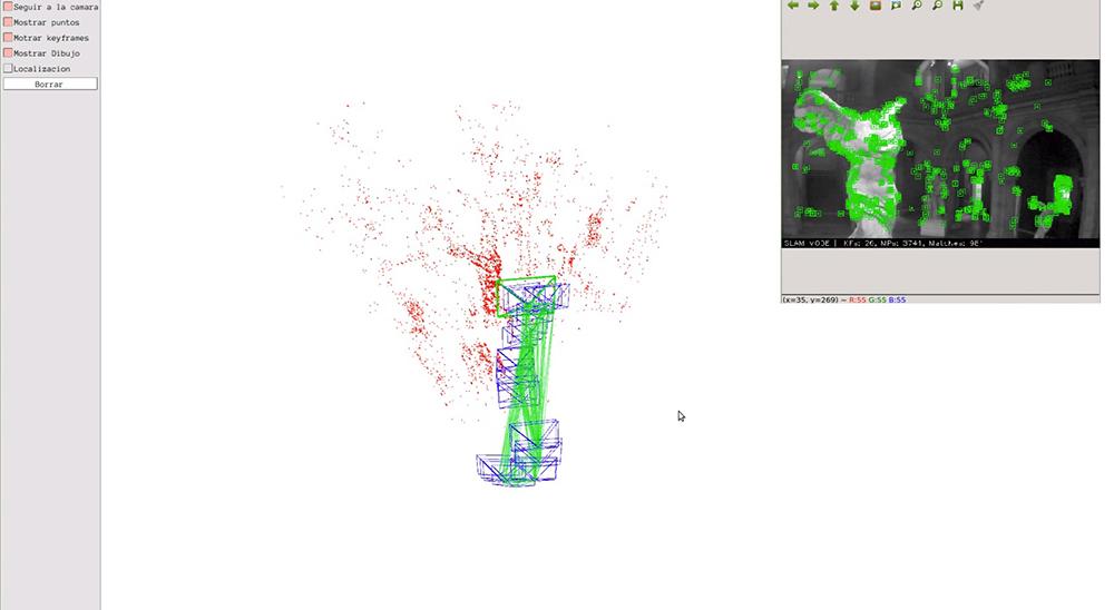 Figura 3. Resultado final el dron hace un trazo utilizando la cámara y mapeando a la Victoria de Samotracia. https://youtu.be/85dsO6jDMAo
