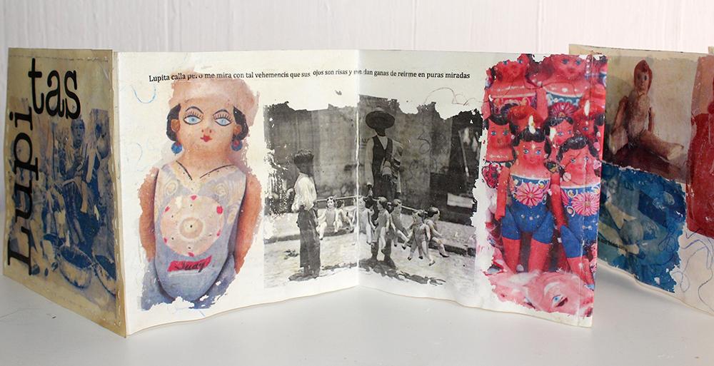 """Autora: Mónica Euridice de la Cruz Hinojos. Título: """"Las Lupitas"""" Técnica: Transferencia, cera de abeja, lápiz pastel, textos de la autora, sobre pergamino. Libro concertina."""