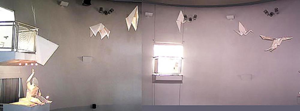 """Imagen No. – 3 Obra """"Magician Transforming Paper into a Bird"""" Imagen extraída de blog oficial Origamijoel, autor Robert J. Lang en colaboración con Tomoko Mihara, instalado en el Museo Zeum, San Francisco. Técnica origami monumental, Tamaño de imagen 20.02 cm x 16.91 cm."""