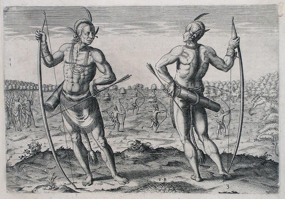 De Bry sin haber estado en la Nueva España recoge diversos informes y plagia dibujos de otros cronistas, de quienes retoma y exagera para denostar a los españoles y las culturas conquistadas por ellos.