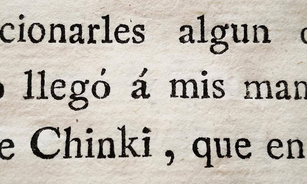 Chinki, una historia cochinchinesa. Detalle de la tipografía.