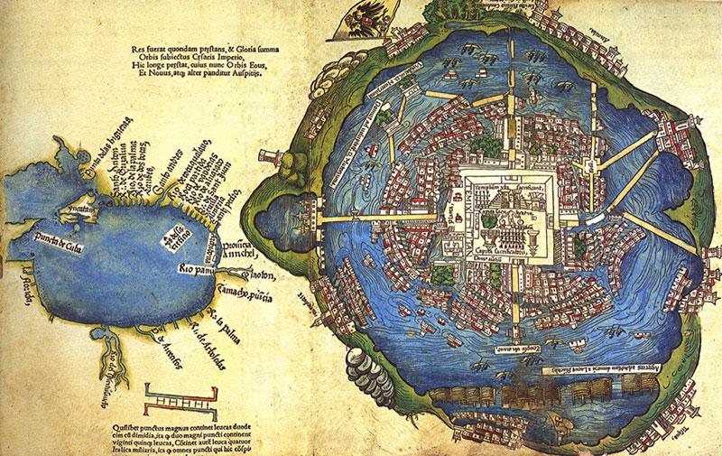 Mapa de Nuremberg, 1524.  El mapa más antiguo de la Ciudad de México, Nueva España.