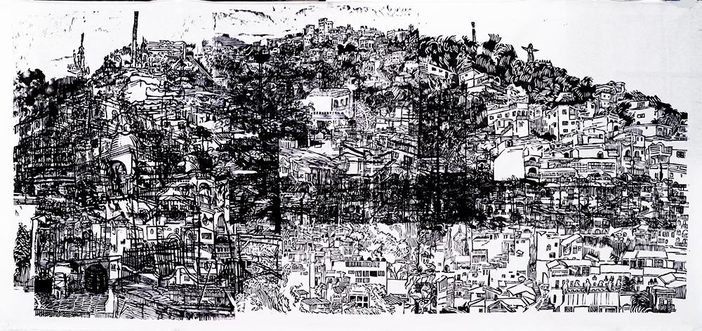 Impresión de 9 xilografías sobre tela distribuidas al azar. 1x2 metros. 2017. © Jorge Fanuvy Núñez Aguilera.