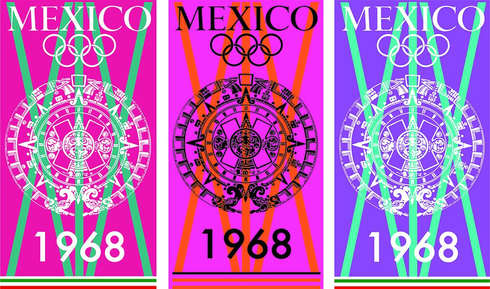 Fig. 6. Variaciones con otras propuestas de color, aplicadas en carteles y postales.