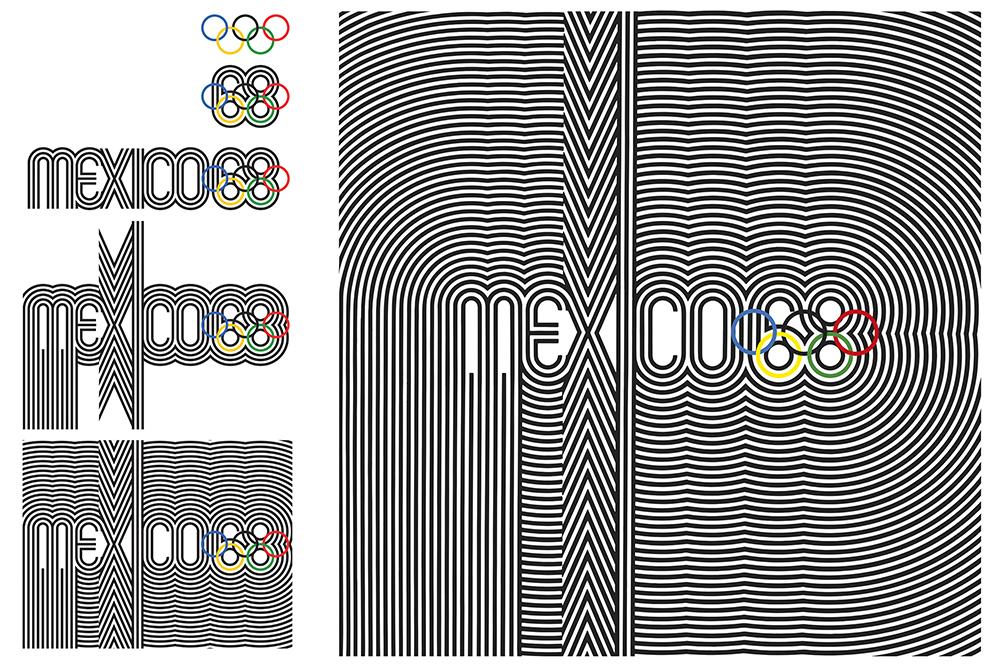 Fig. 7. Diseño de la identidad de los XIX Juegos Olímpicos México 1968, realizados bajo el mando del Arq. Pedro Ramírez Vázquez.