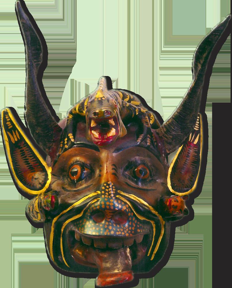 Máscara de diablo con iguana. Madera. San Francisco, Gro.