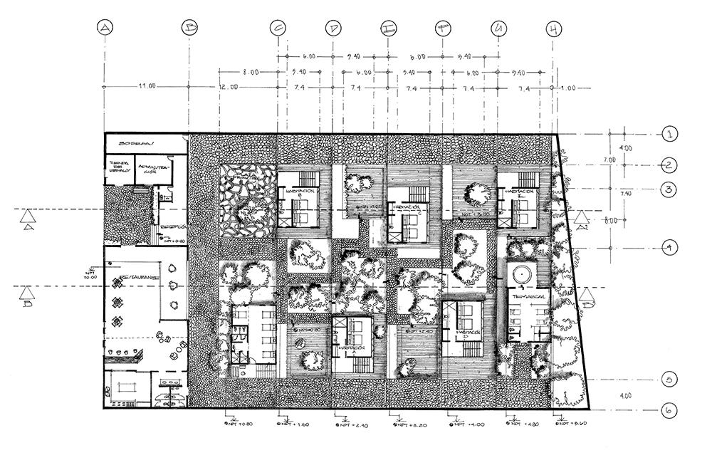 Figura 1: Plano planta de conjunto realizado con los criterios convencionales de la disciplina,  herencia directa de los tratados y método de diseño de Durand. Elaboración propia.