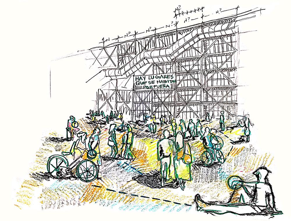 Figura 2: Croquis en una plaza pública. Elaboración de la autora.