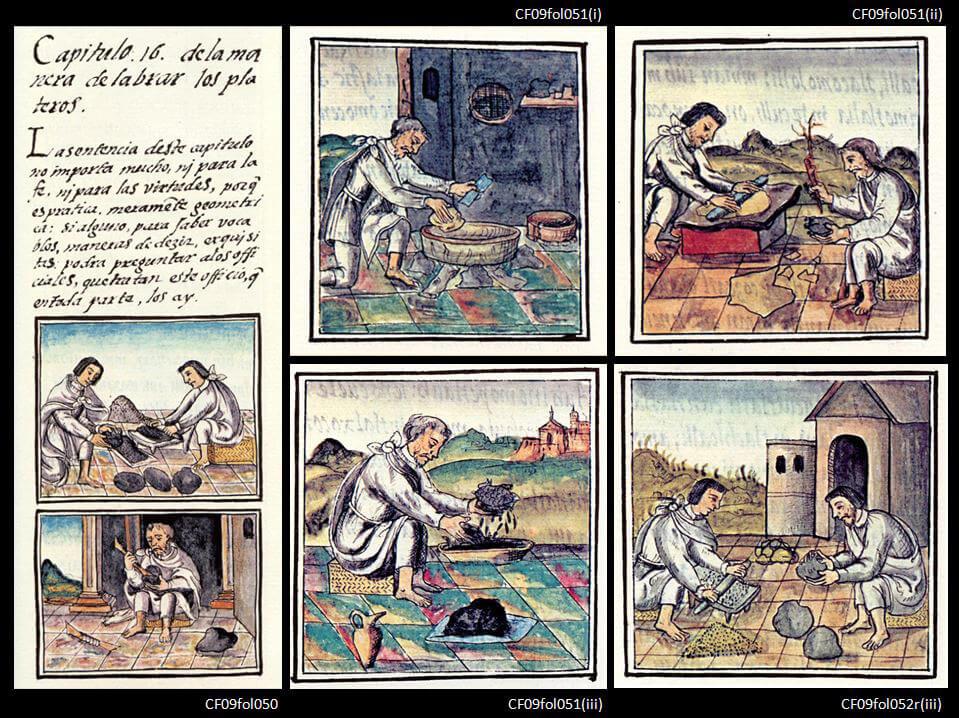 Figura 1. Ilustraciones del proceso del vaciado a la cera perdida del Códice Florentino.