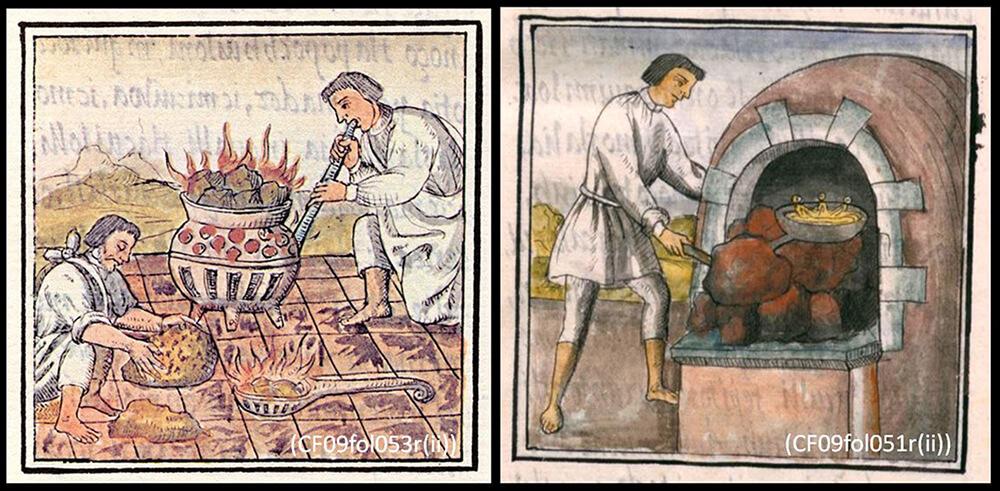 Figura 2. Imágenes de tres elementos de combustión del Códice Florentino.