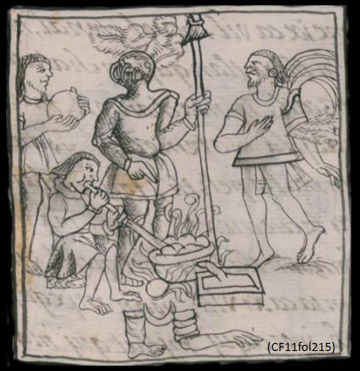 Figura 3. Fundición de objetos de metal en el Códice Florentino.