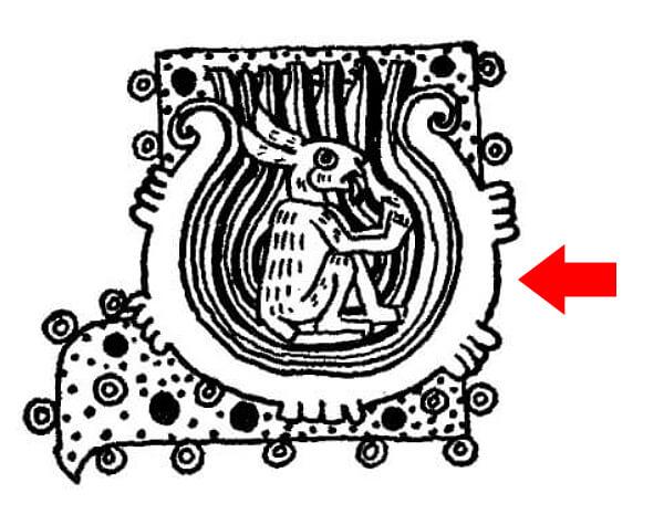 """La representación de la Luna, puede observarse un conejo dentro de una jícara para beber pulque; el conejo representa la """"locura"""" causada por la embriaguez. Imagen tomada del Códice Borgia (Foja 55)."""