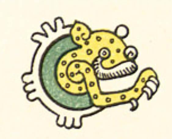 Imagen en la que se inspiró Spratling para el diseño del broche del Jaguar–Luna, puede observarse que los elementos del jaguar y la luna no corresponden a esta imagen, pero si la composición de los elementos. Imagen tomada del Códice Feyervary-Mayer (Foja 5).