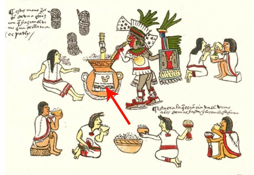 El pulque era la bebida alcohólica ritual con la que los mexicas acompañaban sus fiestas. La flecha señala la forma estilizada del corte transversal de una jícara para beber pulque. Imagen tomada del Códice Magliabechiano (Foja 85r).