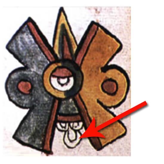Símbolo de Ollin (movimiento) La flecha señala el chalchihuite que en el diseño de Spratling se duplica en la parte de arriba suprimiendo el de rayo. Imagen tomada del Códice Magliabechiano (Foja 13r).