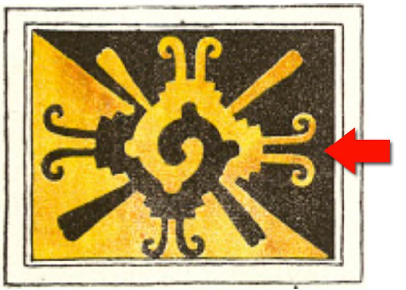 Símbolo de Nahui Ollin en donde se hace referencia a los niveles del supramundo (al rayo y la nube), mundo e inframundo (a la montaña y la cueva) y al movimiento (terremoto) y cambio (mariposa). La flecha señala el diseño de antenas de mariposa que en el caso del diseño de Spratling sólo se conserva en el eje horizontal. Imagen tomada del Códice Magliabechiano (Foja 7).