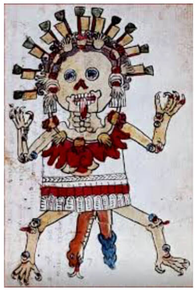La representación de corazones asociados a la vida y a la muerte en diversas deidades como Coatlicue (Falda de serpientes) o Mictlancíhuatl (Señora del Mictlan o de la Región de entre los muertos). Imagen tomada del Códice Tudela.
