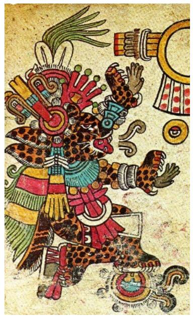 Dios Tezcatlipoca en su advocación de Tepeyóllotl, Corazón de la montaña (Foja 3 Códice Borbónico), la representación de su Nagual es un Jaguar. En las representaciones de Nahuales suele representarse a los animales en posiciones humanas (sentado o de pie sobre sus patas traseras). Imagen tomada del Códice Borbónico.