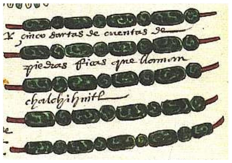 """Chalchíhuitl (Foja 37) representa la gota de agua, la cual, se encuentra en los tres niveles del cosmos. Supramundo: en las nubes del cielo, la gota cae en forma de lluvia dando vida a las plantas. Mundo: las gotas forman los ríos y lagunas para la vida animada. Inframundo: se consideraba acuático y lugar de descanso de los muertos. En la glosa dice: """"Y cinco sartas de / piedras ricas que llaman / chalchíhuitl""""."""