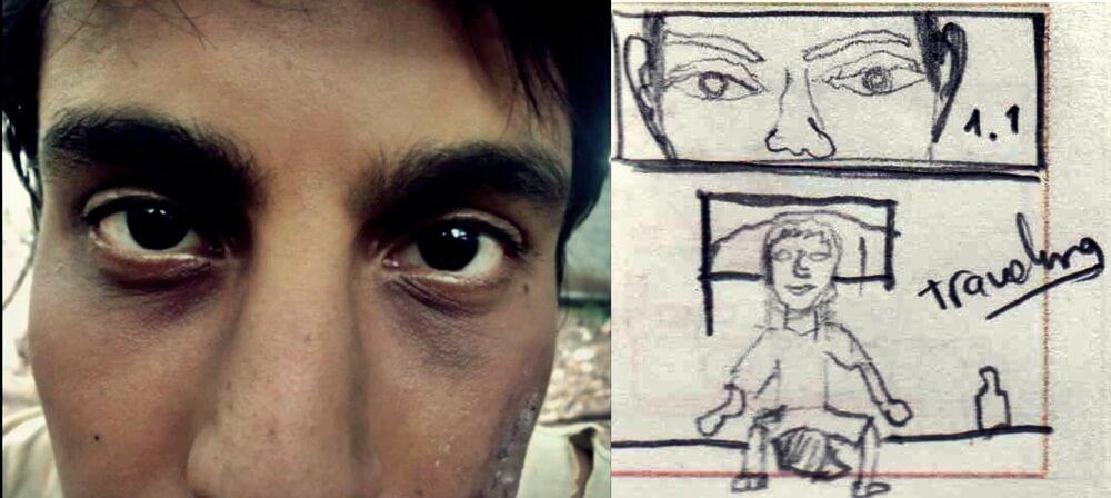Comparación fotograma con storyboard, Escena 1. Guido J Castro (2020).