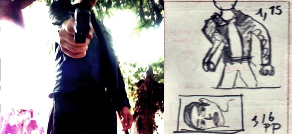 Comparación fotograma con storyboard, Escena 3. Guido J Castro (2020).