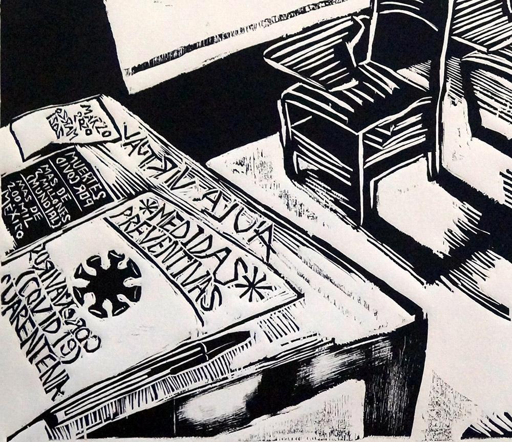 Jorge Fanuvy Núñez Aguilera © Detalle de Classroom Xilografía, 04/2021