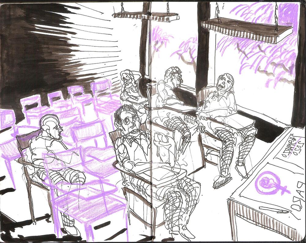 Jorge Fanuvy Núñez Aguilera © Una de las páginas de Cuento para Mavy #9M Tinta china y lápiz de color violeta Cuaderno bitácora de dibujo, tamaño carta 09/03/2020