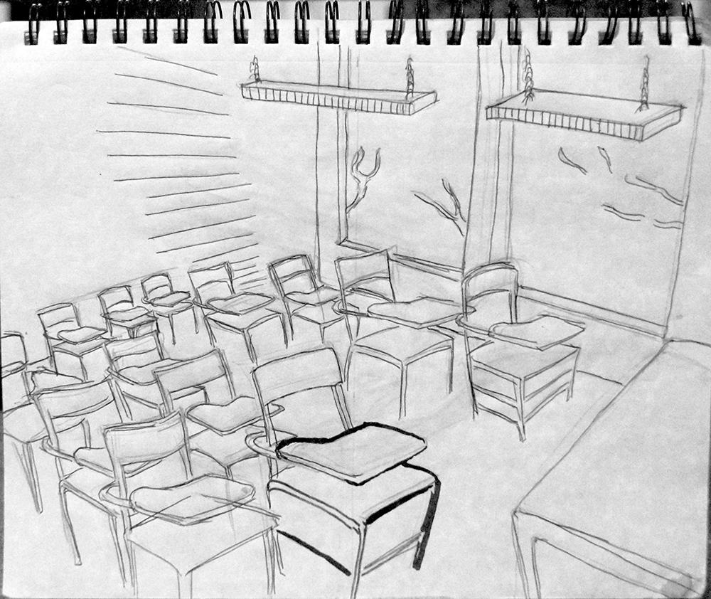 Jorge Fanuvy Núñez Aguilera © Dibujo de salón de clases (partiendo del dibujo #COVID 19) Bolígrafo sobre cuaderno de apuntes 22.9 x 30.5 cm, 04/2020
