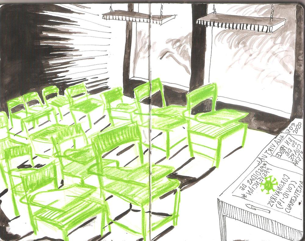 Jorge Fanuvy Núñez Aguilera © Una de las páginas de Cuento para Mavy #COVID 19 Tinta china y lápiz de color verde Cuaderno bitácora de dibujo, tamaño carta 17/03/2020