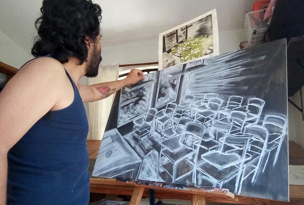 Proceso de dibujo sobre la madera teñida de negro 04/ 2021