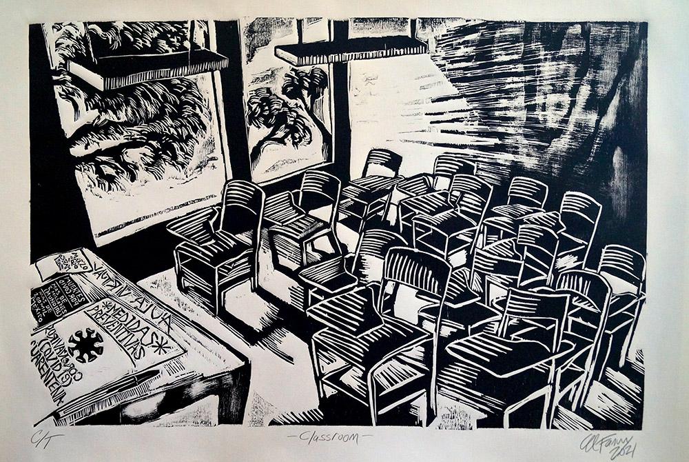 Jorge Fanuvy Núñez Aguilera © Classroom  Xilografía 65 x 100 cm 04/2021