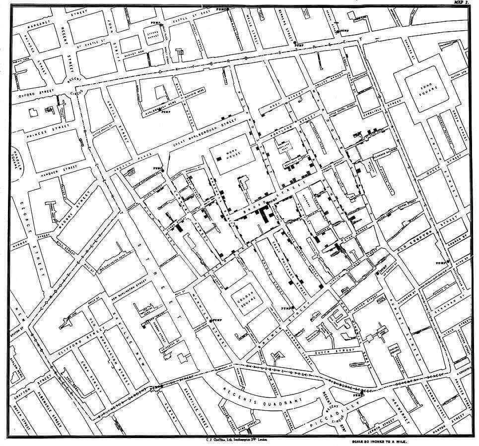 Mapa sobre el cólera elaborado por John Snow en 1854.